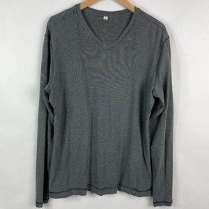 Lululemon Mens Long Sleeve V Neck Stripe Shirt